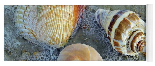 Beautiful Shells In The Surf Yoga Mat