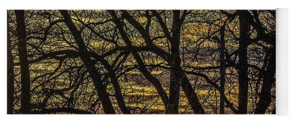 Beautiful Sunset Behind Bare Trees Yoga Mat