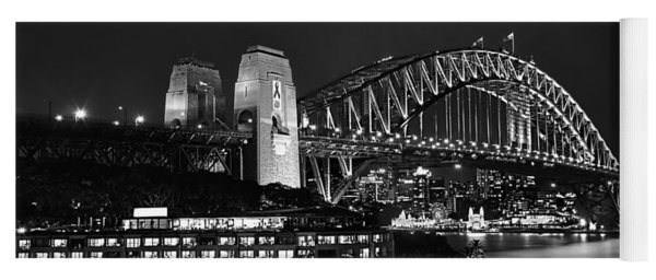 Beautiful Sydney Harbour In Black And White Yoga Mat