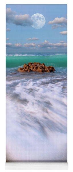 Beautiful Waves Under Full Moon At Coral Cove Beach In Jupiter, Florida Yoga Mat