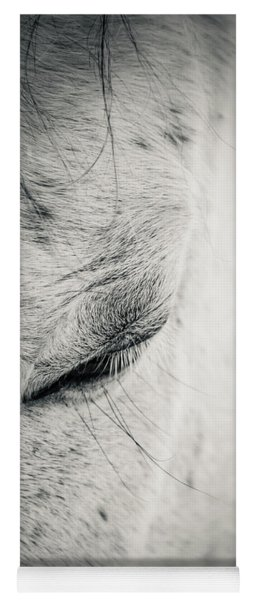 Beautiful White Horse With Closed Eyes Yoga Mat