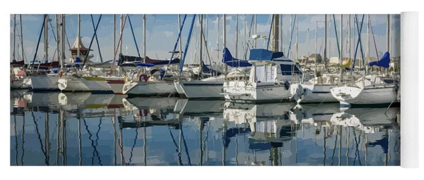 Beautiful Yachts Moored In The Marina Yoga Mat
