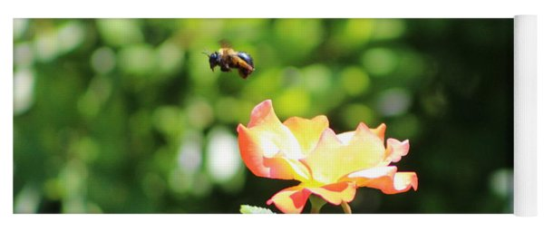 Bee Flying From Peach Petal Rose Yoga Mat