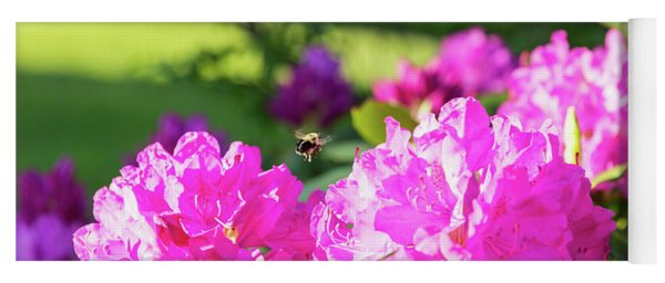 Bee Flying Over Catawba Rhododendron Yoga Mat