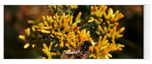 Bee On Autumn Bloom Yoga Mat