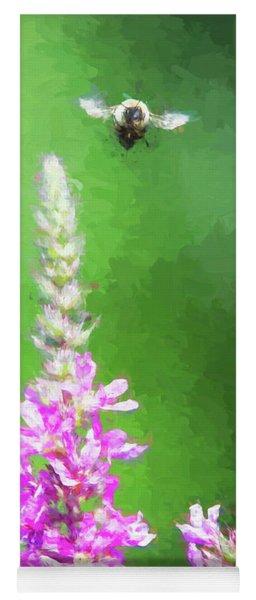 Bee Over Flowers Yoga Mat