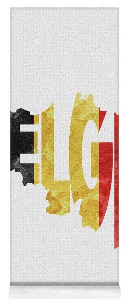 Belgium Typographic Map Flag Yoga Mat