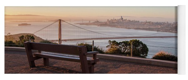 Bench Overlooking Downtown San Francisco And The Golden Gate Bri Yoga Mat
