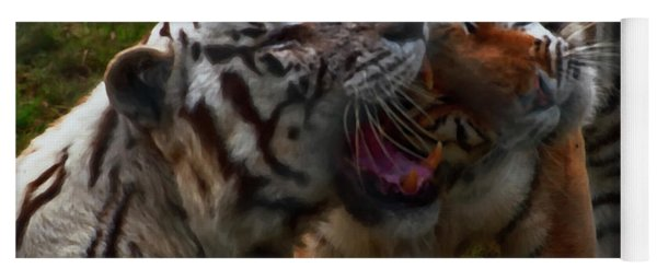Yoga Mat featuring the photograph Bengal Tiger And White Bengal Tiger by Chris Flees