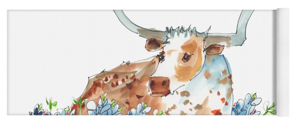 Bessie In The Bluebonnets Watercolor Painting By Kmcelwaine Yoga Mat