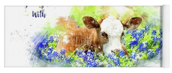 Yoga Mat featuring the photograph Better With Bluebonnets Watercolor by Lynn Bauer