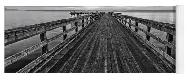 Bevan Fishing Pier - Black And White Yoga Mat