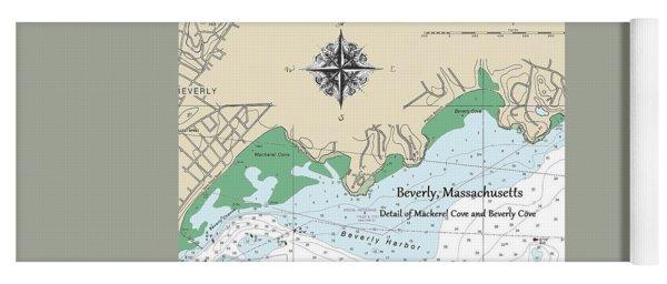 Beverly Cove Nautical Map Yoga Mat
