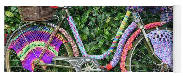 Bicycle In Knitted Sweater Yoga Mat
