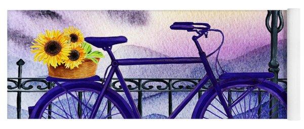 Blue Bicycle And Sunflowers By Irina Sztukowski  Yoga Mat