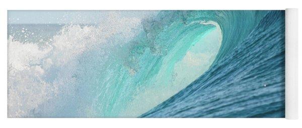 Big Barrel Wave Breaking For Surfing Yoga Mat