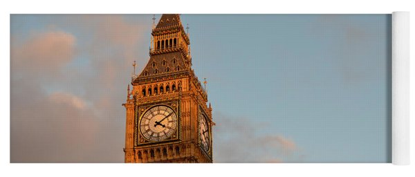 Big Ben Tower With Blue Sky And Some Clouds Yoga Mat