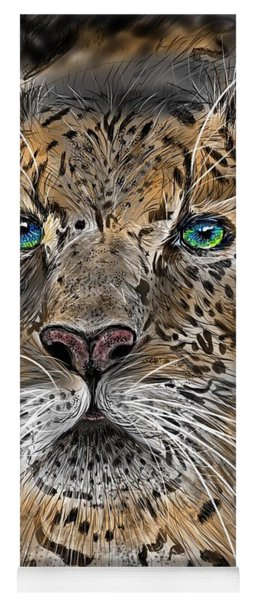 Yoga Mat featuring the digital art Big Cat by Darren Cannell