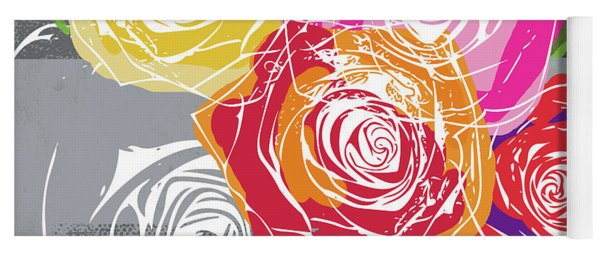 Big Colorful Roses 1- Art By Linda Woods Yoga Mat
