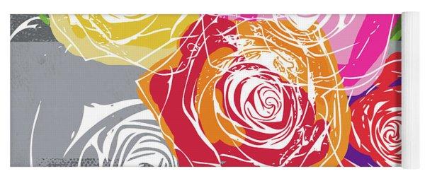Big Colorful Roses 1- Art By Linda Woods Yoga Mat