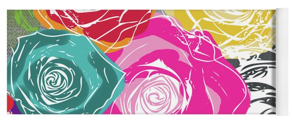 Big Colorful Roses 2- Art By Linda Woods Yoga Mat