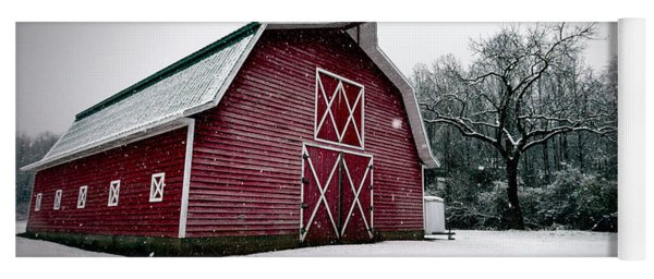 Big Red Barn In Snow Yoga Mat
