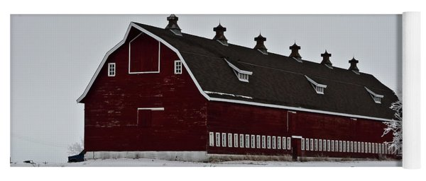 Big Red Barn In The Winter Yoga Mat