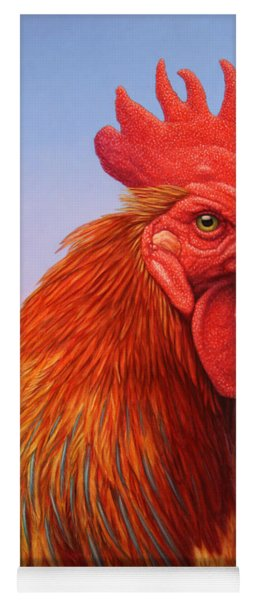 Yoga Mat featuring the painting Big Red Rooster by James W Johnson