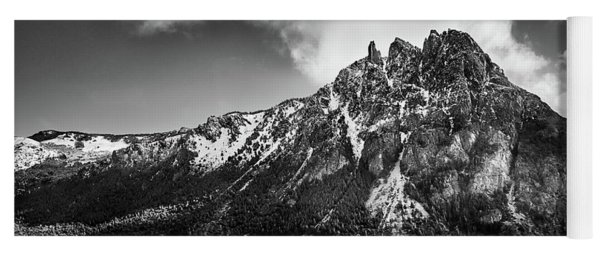 Big Snowy Mountain In Argentine Patagonia - Black And White Yoga Mat