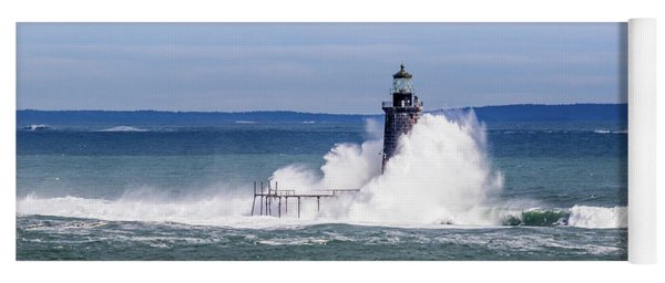 Big Wave Hits Ram Island Ledge Light Yoga Mat