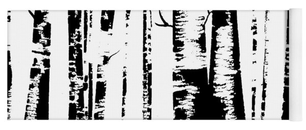 Birch Forest Black Yoga Mat
