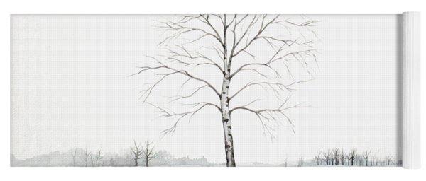 Birch Tree Upon The Winter Plain Yoga Mat