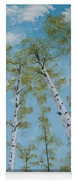 Birch Trees And Sky Yoga Mat