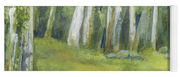 Birch Trees And Spring Field Yoga Mat