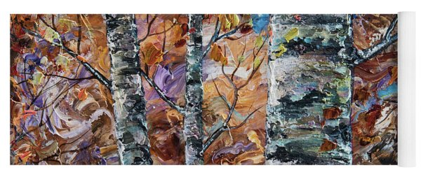 Birch Trees Oil Painting With Palette Knife  Yoga Mat