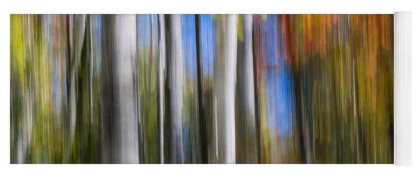 Birches In Autumn Forest Yoga Mat