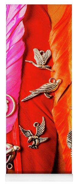 Bird Icons And Rainbow Feathers Yoga Mat