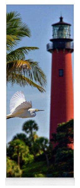 Bird In Flight Under Jupiter Lighthouse, Florida Yoga Mat