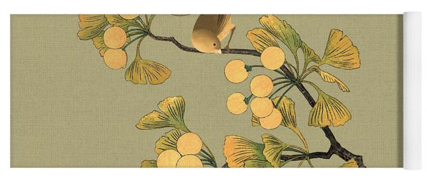 Bird In Ginkgo Tree Yoga Mat