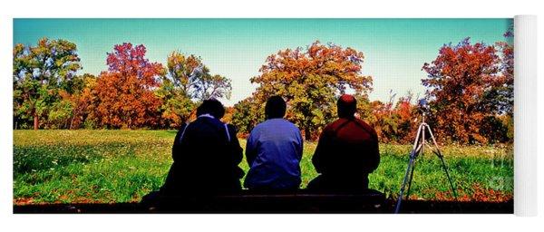Bird Watchers Bench Fall Crabtree Nature Center Cook County Il  Yoga Mat