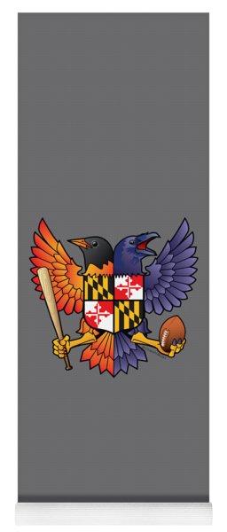 Birdland Baltimore Raven And Oriole Maryland Shield Yoga Mat