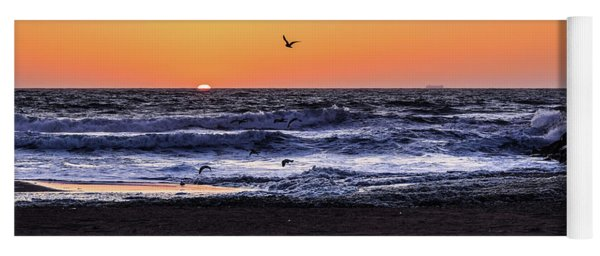 Yoga Mat featuring the photograph Birds At Sunrise by Nicole Lloyd