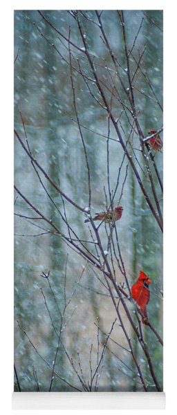 Birds On A Snowy Day Yoga Mat