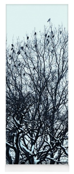 Birds On The Tree Monochrome Yoga Mat
