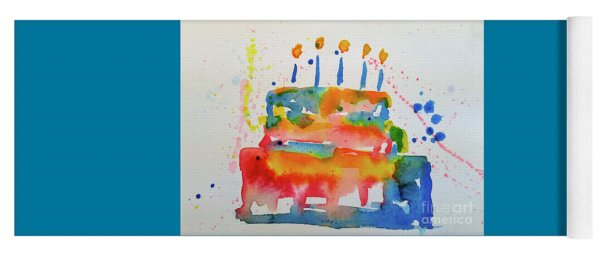 Yoga Mat featuring the painting Birthday Blue Cake by Claire Bull