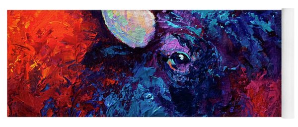 Bison Head Color Study II Yoga Mat