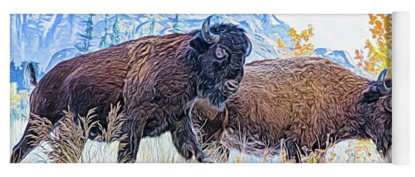 Yoga Mat featuring the digital art Bison Pair by Ray Shiu