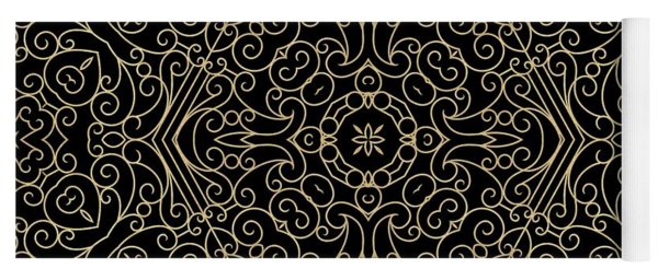 Black And Gold Filigree 002 Yoga Mat