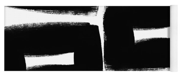 Black And White Abstract- Abstract Painting Yoga Mat