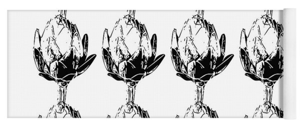 Black And White Artichokes- Art By Linda Woods Yoga Mat